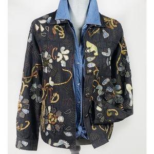 VTG Bohemian Embroidered Hippie Denim Jacket S